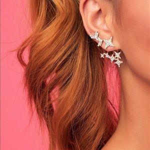 Gold Rhinestone 3 Hole Earrings